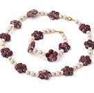 天然白色珍珠 紫花玉项链 手链 套链