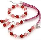 珍珠 红玛瑙 西瓜晶项链 手链 耳环 套链