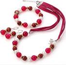 珍珠 玛瑙 红石项链 手链 耳环 套链