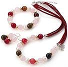 珍珠 粉晶 玛瑙项链 手链 耳环 套链