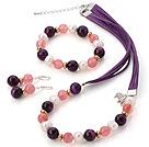珍珠 紫玛瑙 西瓜水晶项链 手链 耳环 套链