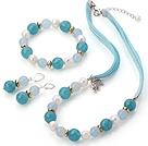 珍珠 海绵蓝晶项链 手链 耳环 套链