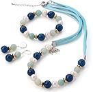 珍珠 亚马逊石 蓝玛瑙项链 手链 耳环 套链