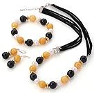 珍珠 黄玉 黑玛瑙项链 手链 耳环 套链
