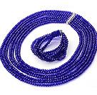 蓝色人造水晶项链 手链 套链 七层款
