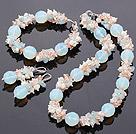 珍珠 水晶 海蓝宝 蛋白石项链 手链 耳环 套链