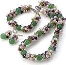 珍珠 紫水晶 橄榄石 东陵玉项链 手链 耳环 套链