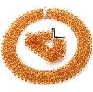 橘色人造水晶项链 手链 套链