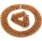 橘黄色人造水晶项链 手链 套链