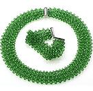 绿色人造水晶项链 手链 套链