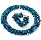 蓝色人造水晶项链 手链 套链