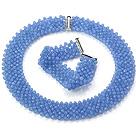 浅蓝色人造水晶项链 手链 套链