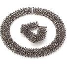 黑灰色人造水晶项链 手链 套链