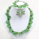 绿色系水晶花项链手链耳环套链