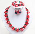 红绿色系水晶花项链手链耳环套链