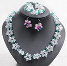 白色绿色水晶花项链手链耳环套链