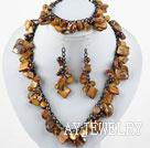 棕色贝壳珍珠套链