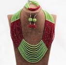绿色红色10层水晶项链手链耳环套链