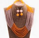 黄色粉色10层水晶项链手链耳环套链