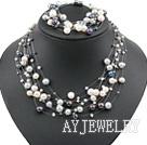 天然三色珍珠套链