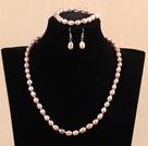 7-8mm米形紫珍珠项链手链耳环套装