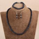 7-8mm黑珍珠项链手链耳环套装