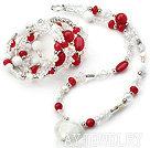 水晶白瓷石红糖果玉套链