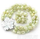黄绿色巴洛克珍珠戒指套装