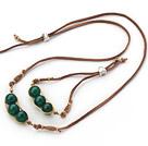 绿玛瑙手工编织四季豆套链
