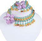亚克力紫花朵项链手链套装