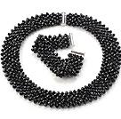 黑色人造水晶项链 手链 套链