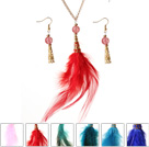 羽毛套装配合金链 时尚流行项链耳环套装 六套装
