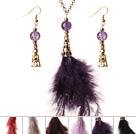 羽毛水晶套装配合金链 时尚流行项链耳环套装 六套装