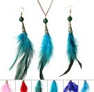 多彩羽毛套装配合金链 时尚流行项链耳环套装 六套装