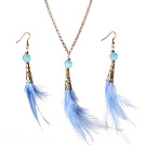 蓝色羽毛项链耳环套装 配合金链