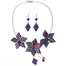 紫色亚克力花朵镀彩套链 项链耳环套装