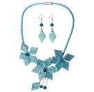 蓝色亚克力花朵镀彩套链 项链耳环套装