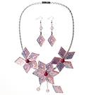 粉色亚克力花朵镀彩套链 项链耳环套装