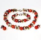 珍珠紫晶橄榄石红玛瑙套链