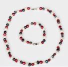 6-7mm白色和酒红色和黑色珍珠项链手链套装
