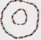 6-7mm绿色酒红色和灰色珍珠项链手链套装
