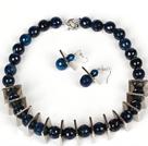 14mm切面蓝玛瑙项链耳环套装