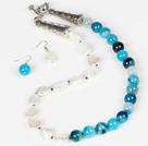 水滴珍珠和条纹蓝玛瑙项链耳环套装
