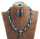 蓝玛瑙和白瓷石项链耳环套装