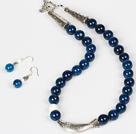 蓝玛瑙白瓷石项链耳环套装