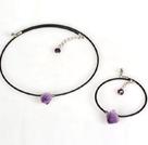 狗牙紫晶套链(项链配手链)