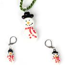 圣诞雪人套装 项链配耳环