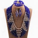 蓝色浅棕六层水晶项链手链耳环套链