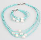 10-11mm天然白珍珠蓝色皮绳项链手链套装