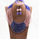 粉色蓝色10层水晶项链手链耳环套链